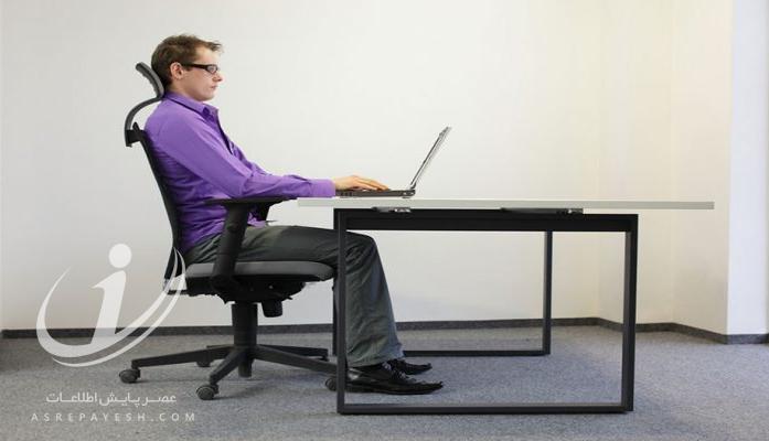 آموزش تصویری نحوه نشستن صحیح حین کار با کامپیوتر (ارگونومی)